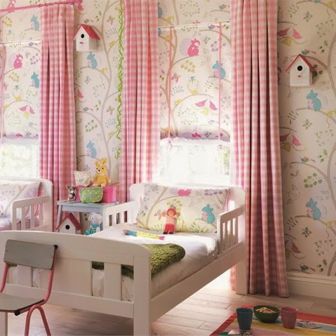 Sanderson -Abrazco & Appledore (pink check)    curtains &blinds