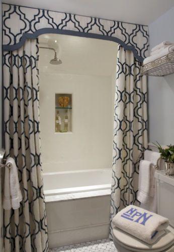 Firm shaped pelmet with bathroom curtain