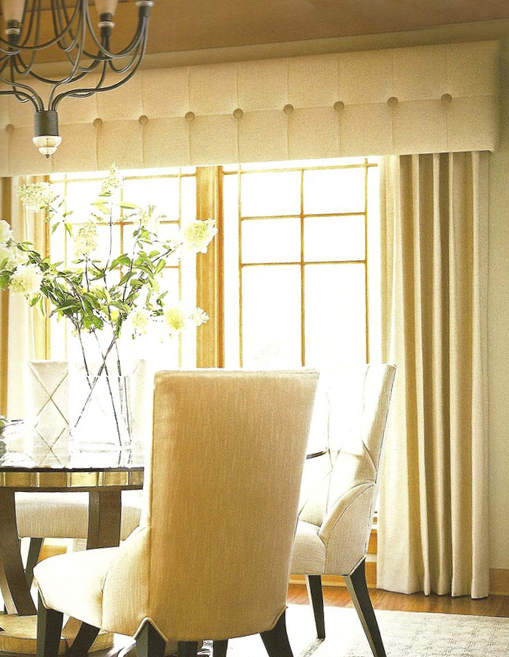 Deep buttoned pelmet with curtain