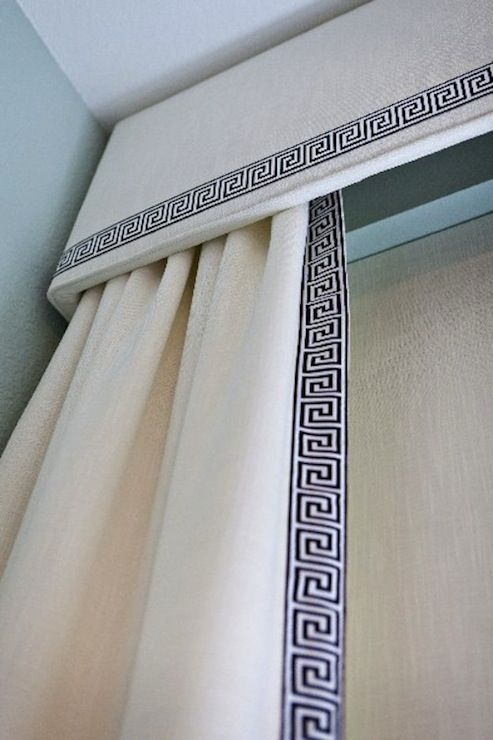 Pelmet and curtain with leading edge