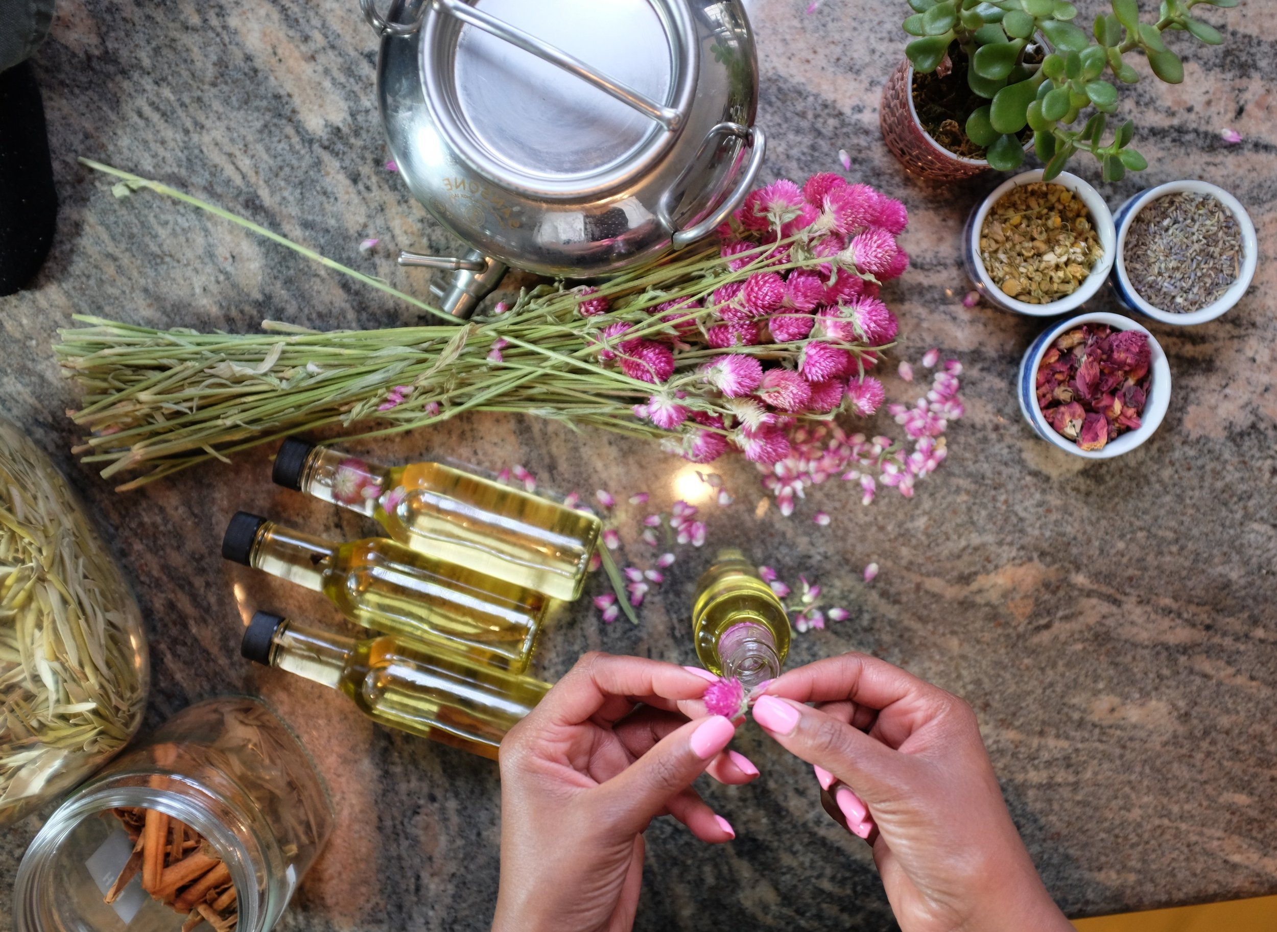 Our Whole Body Oils for Skin, Hair & Spirit - Pampering Blends crafted with farm-fresh herbs and flowers.