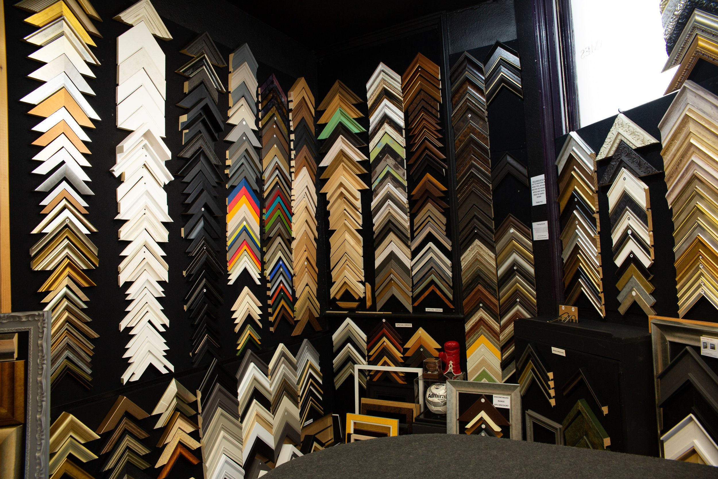 Bespoke picture framing - We stock over 250 quality frame mouldings with a further 5000 plus available to order.
