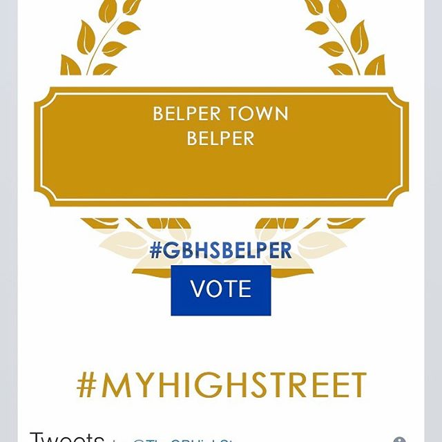 Voting is now open for the Great British High Street 2019 award and Belper are one of only three finalists!  Get voting folks little old Belper can do this ✅  https://thegreatbritishhighstreet.co.uk  @thegbhighst #myhighstreet