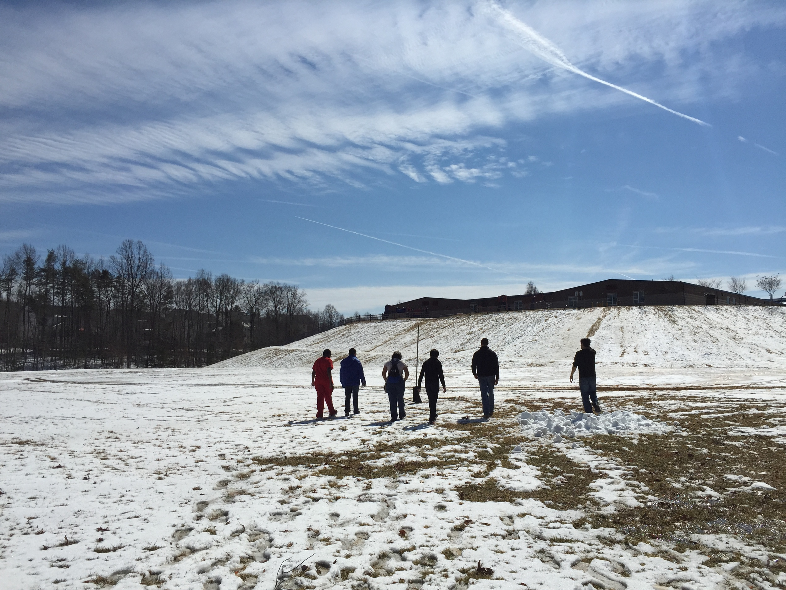 Students conduct test launches in Virginia on a snowy March day.