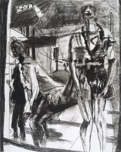 Linda Button's  Growin' Up  (charcoal) was one of the works sold.
