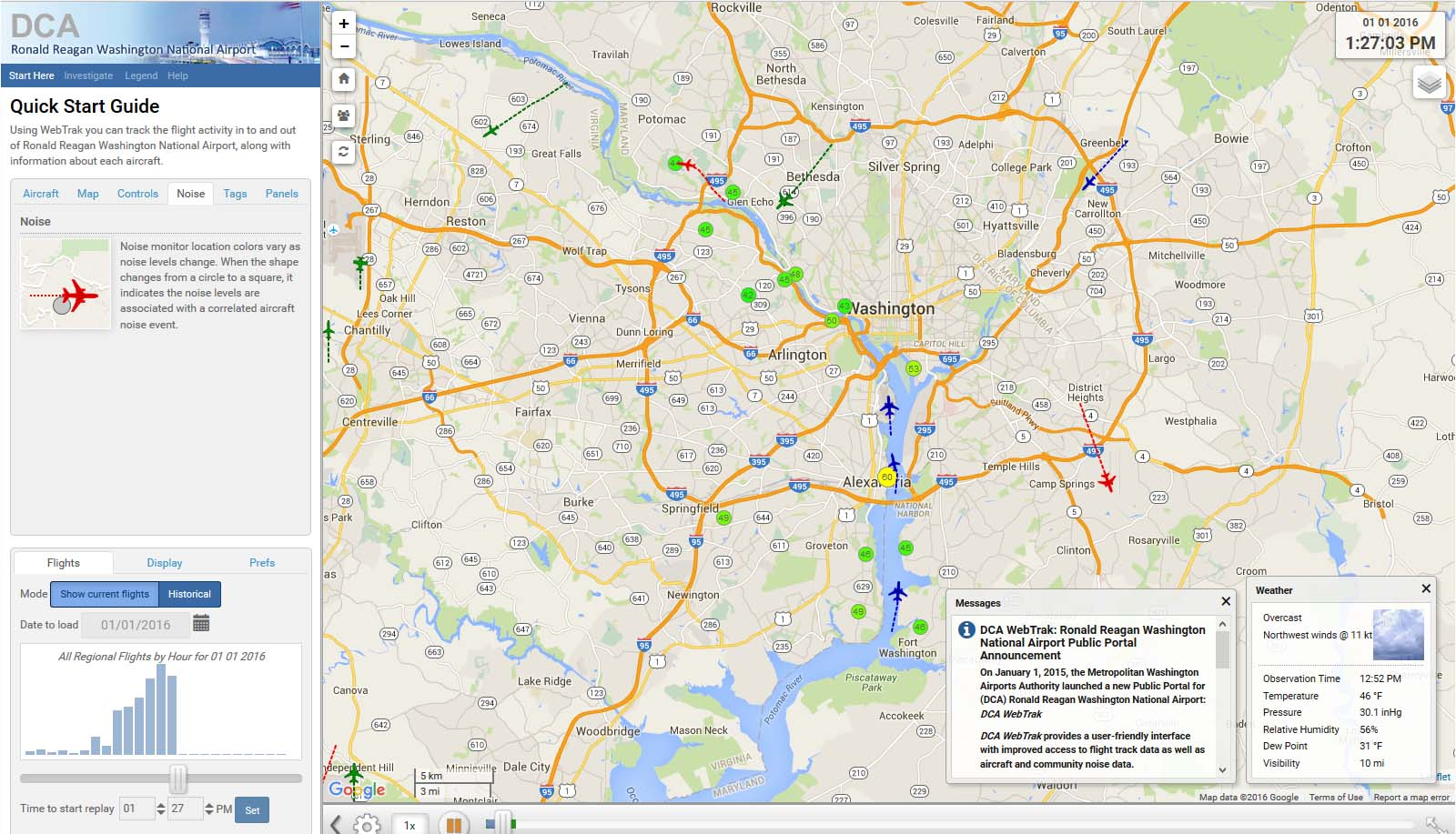 DCA WebTrak lets you track flight activity into and out of Reagan National Airport and monitor aircraft and community noise data.