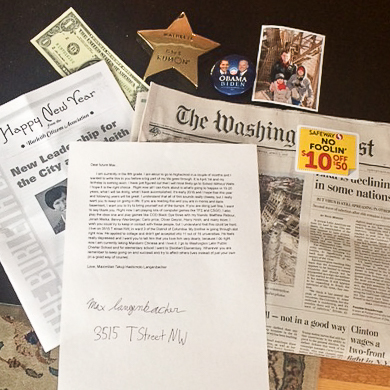 some of the items max placed in the time capsule.