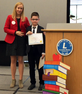 Marek with Erica Siegmund Hough of the Junior League of DC, a literacy partner with the library of congress.