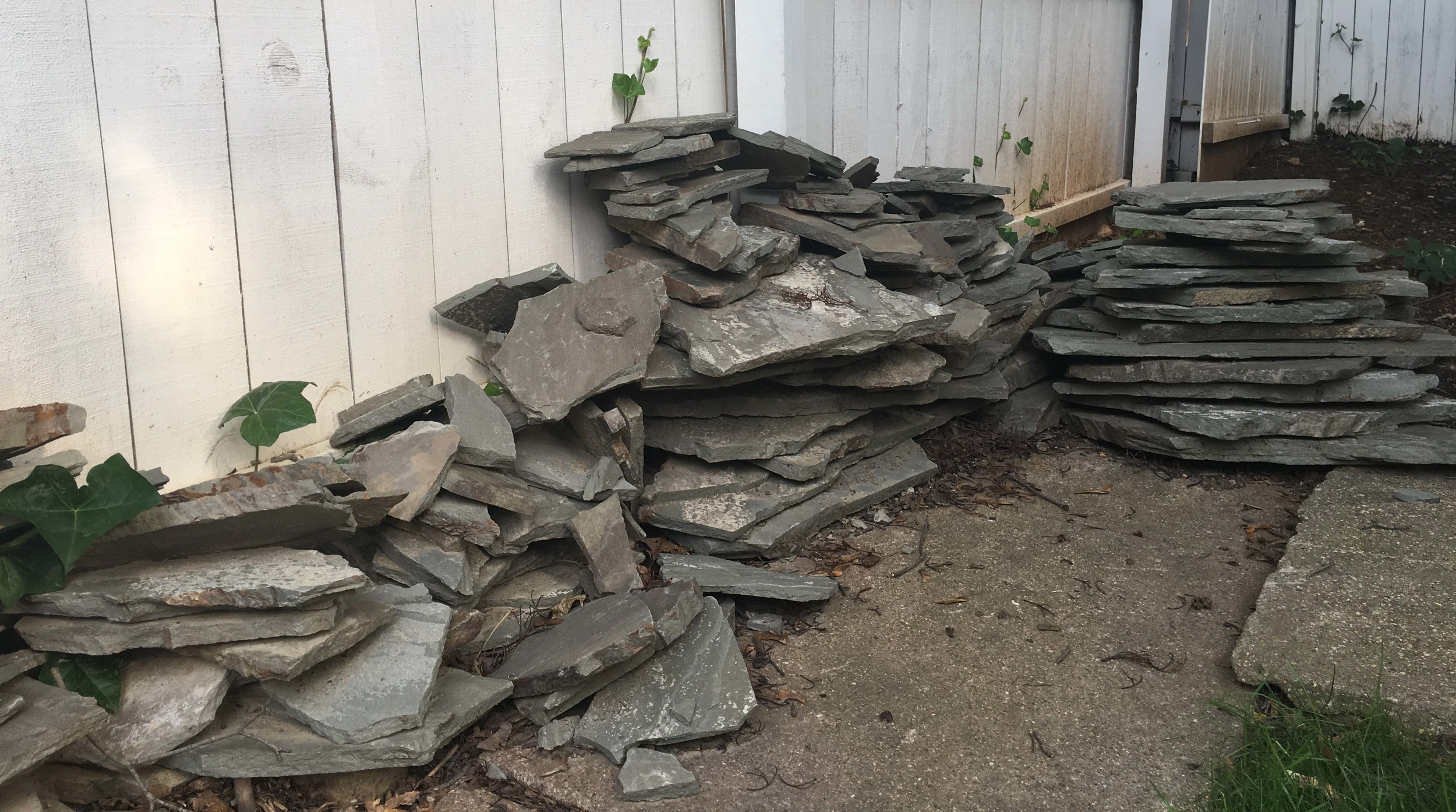 There are enough stones to build a 15-foot-long by 1-foot-high wall.