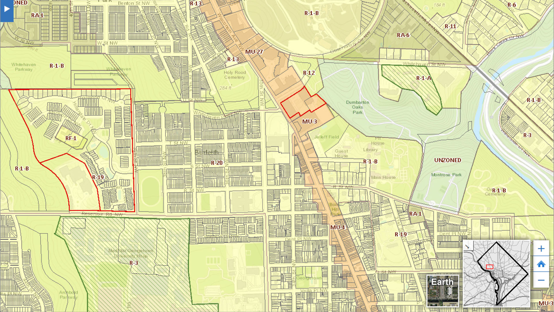 Detail of 2016 Interactive DC Zoning Map from  DC Office of Zoning .