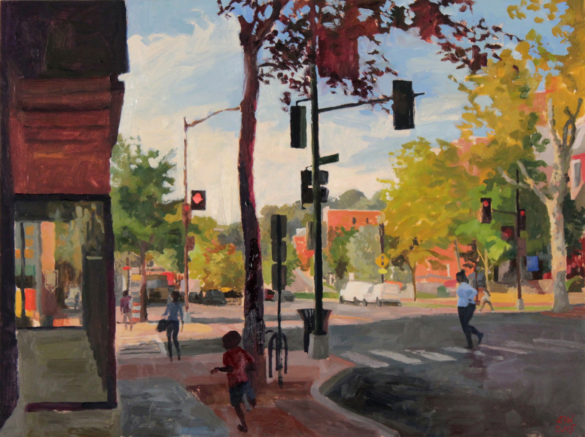 """Elaine S. Wilson's  Hughes Tower From the Fahrenheit Building  won """"Best Overall"""" in the 2016 For the Record competition. created in October 2015, her painting depicts the intersection of Shepherd Street and Georgia Avenue in Petworth."""