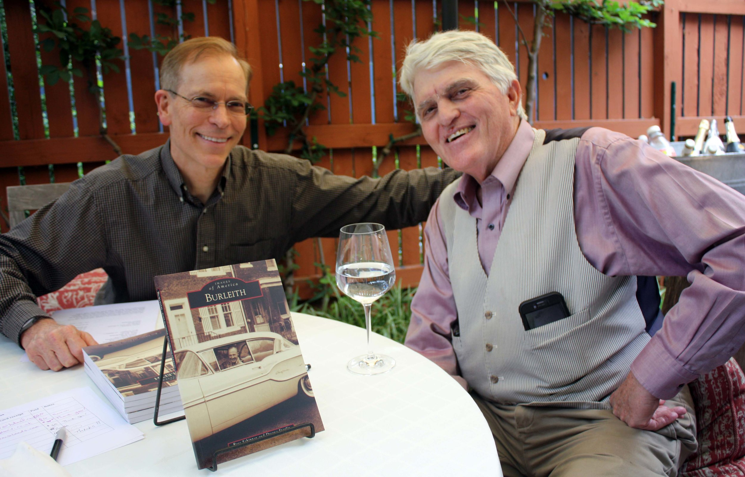 authors Ross Schipper and Dwane Starlin at the May 20 book reception. Click  here  for more photos. Photo by Ann Carper.