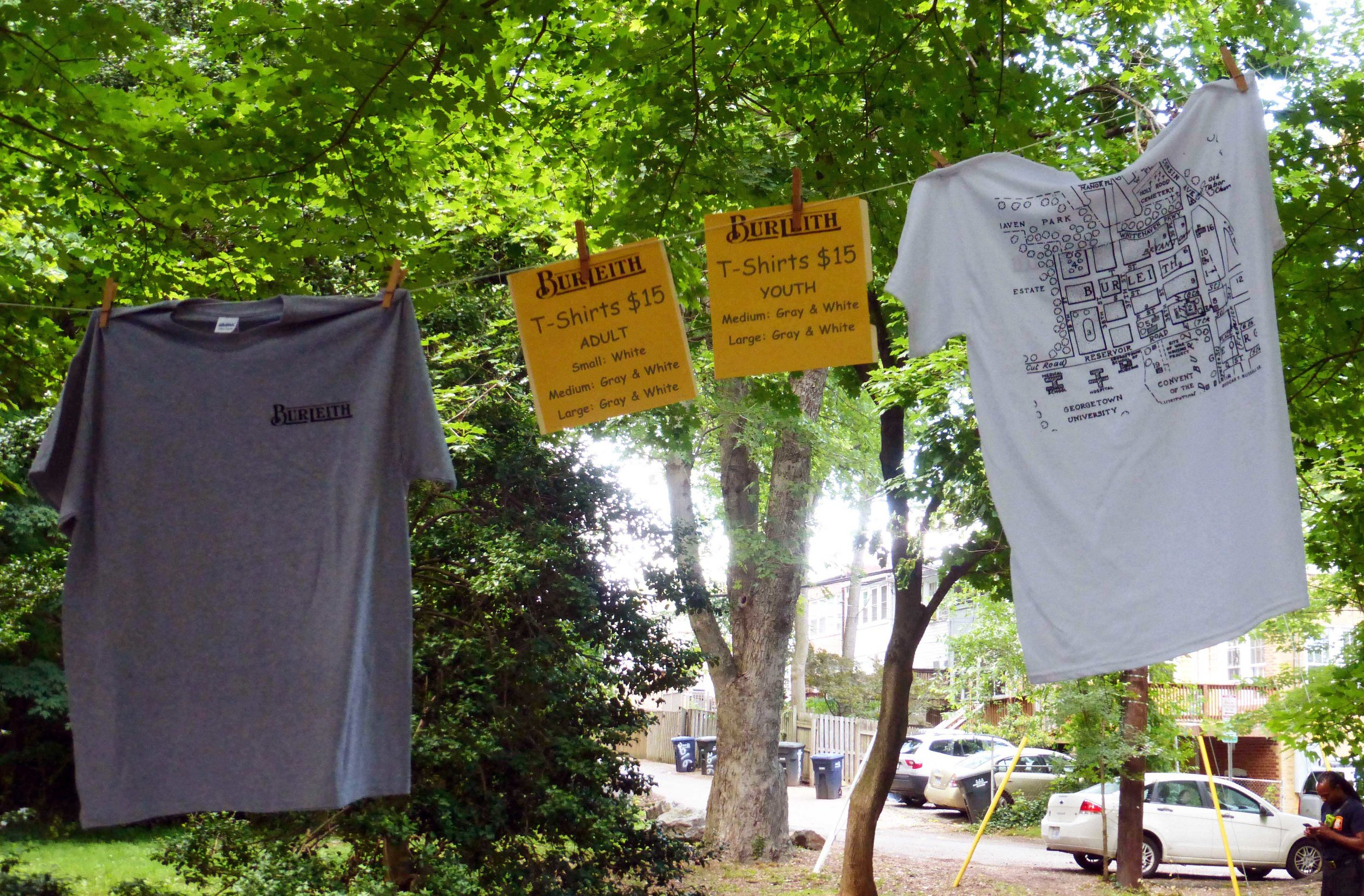 gray and white t-shirts in adult and youth sizes are still available. email bell@burleith.org to order.