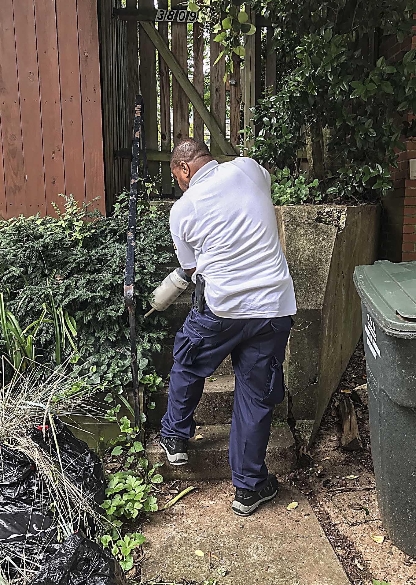 Rodent Control employee sprays a rat burrow.