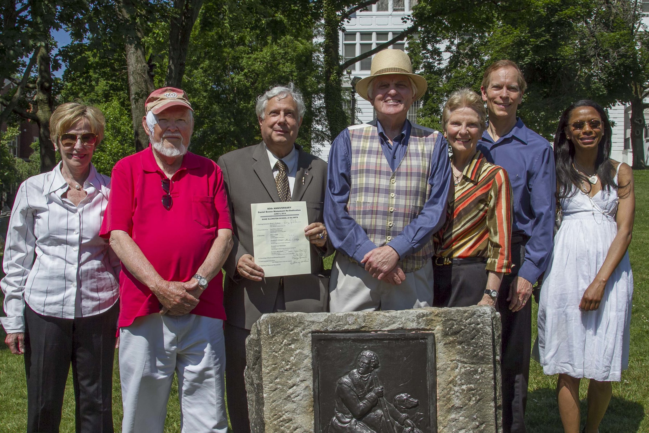 Unveiling of the restored Daniel Boone monument on June 4, 2014, just six months before the groundbreaking ceremony for the Ellington modernization. the monument is at the corner of 35th and reservoir.