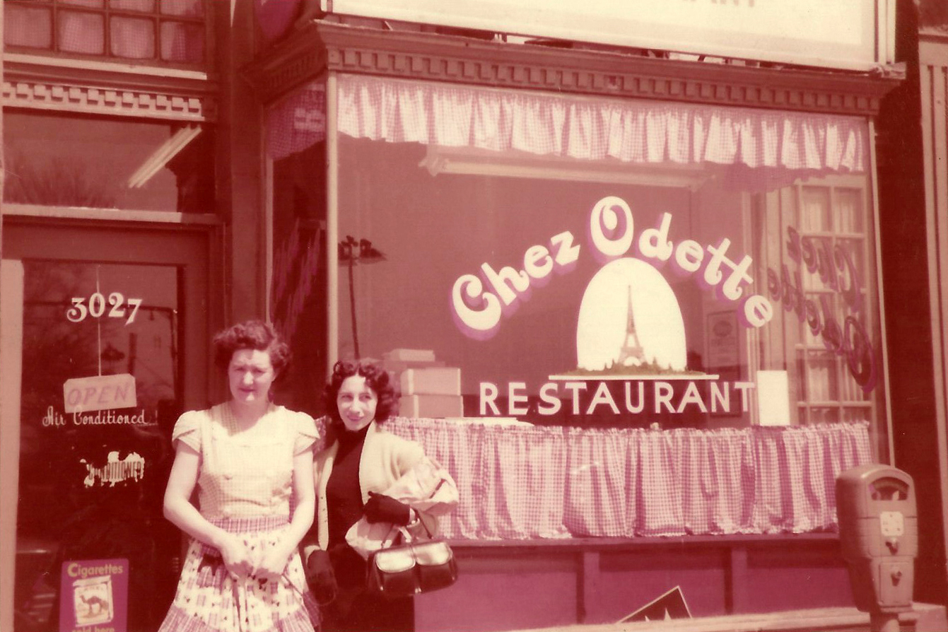 Odette Pantelich and an unidentified woman at the original location of her eponymous restaurant, 1956.