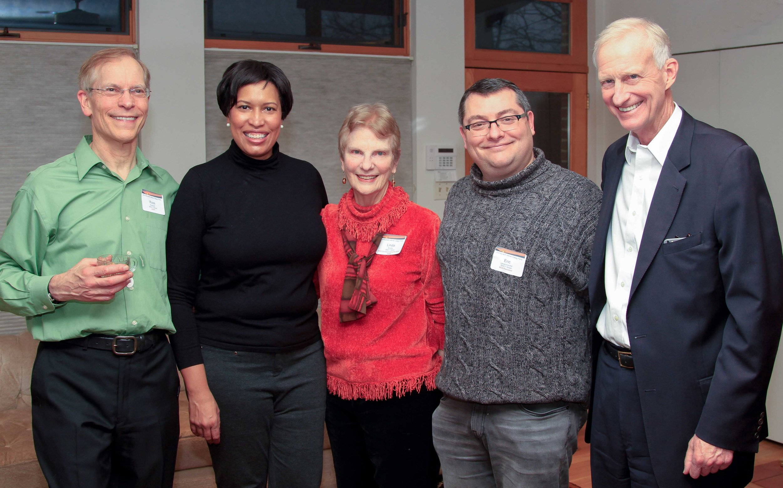 Hosts Ross Schipper and Linda Brooks flank Mayor Muriel Bowser and are joined by BCA president Eric Langenbacher and Ward 2 councilmember Jack Evans. Photos by Alex Frederick.