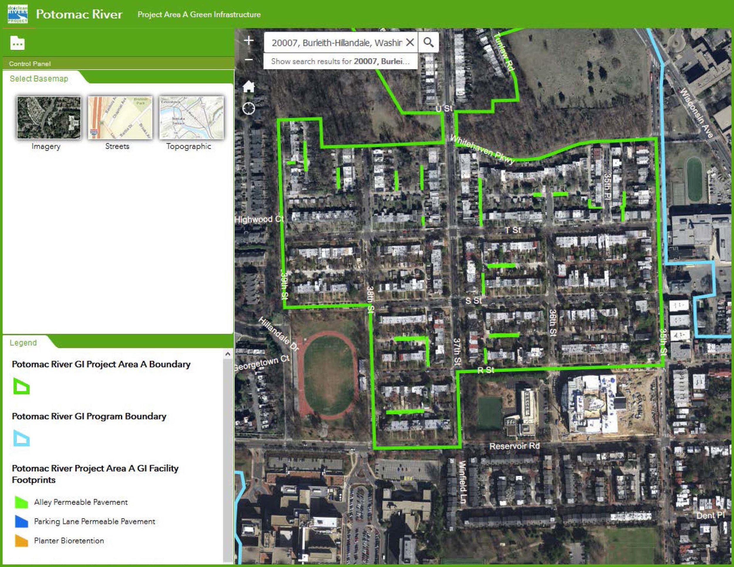 Screen shot of interactive  map  on the  project website 's homepage.