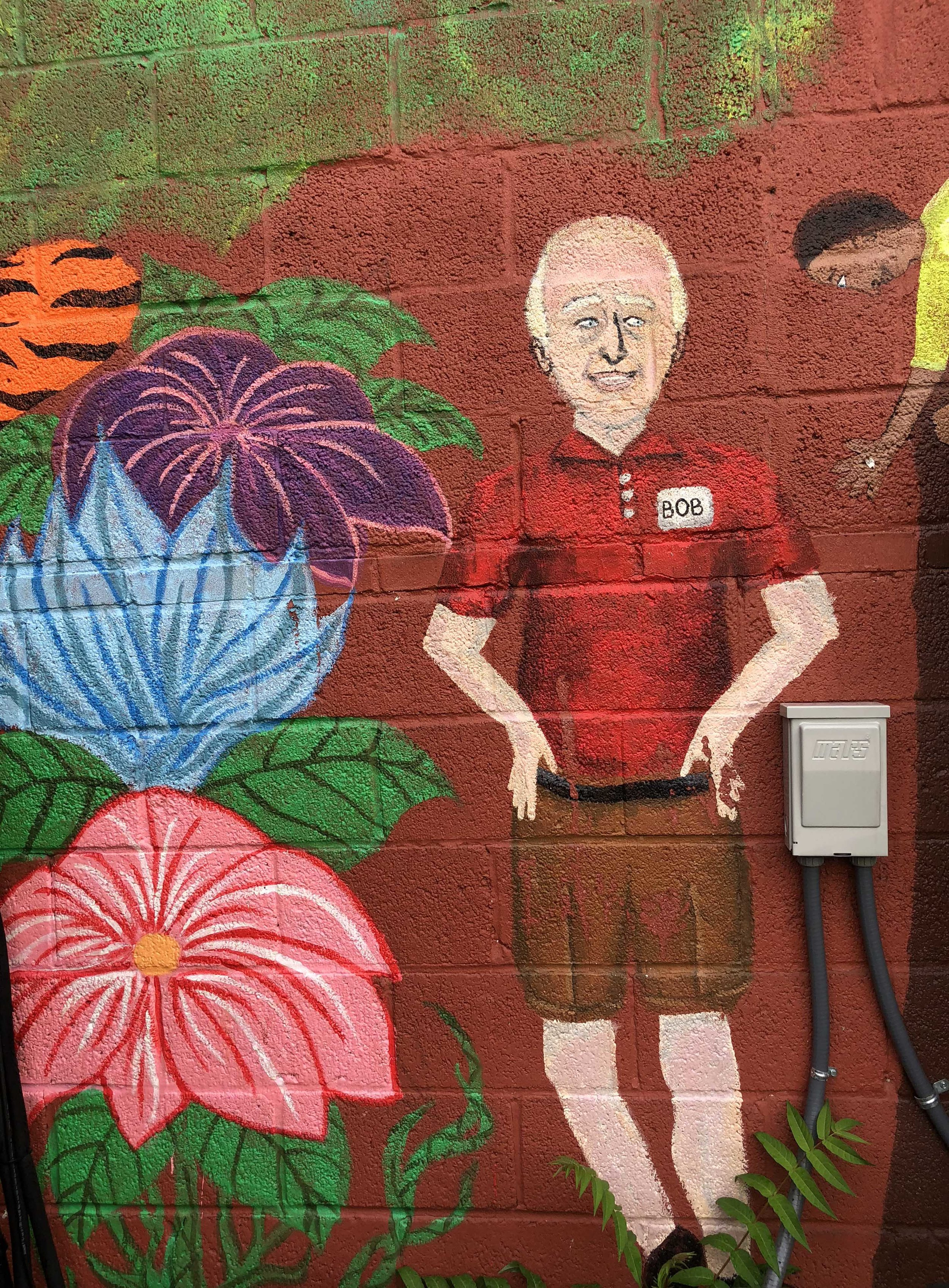 detail of Mural showing site manager Bob Stowers.