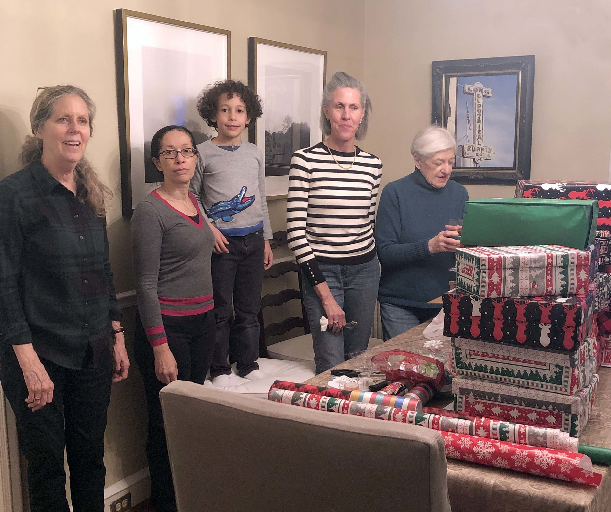 a handful of volunteers packed and wrapped boxes with supplies purchased by the BCF and other participants.