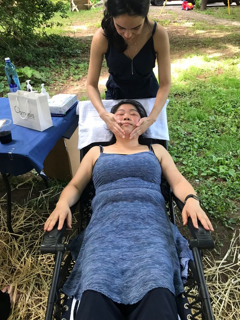 Picnic-goers took Burleith's first annual Green Picnic Challenge, while another enjoyed a facial by Sarah Howell of Volta Esthetics & Massage Lab.