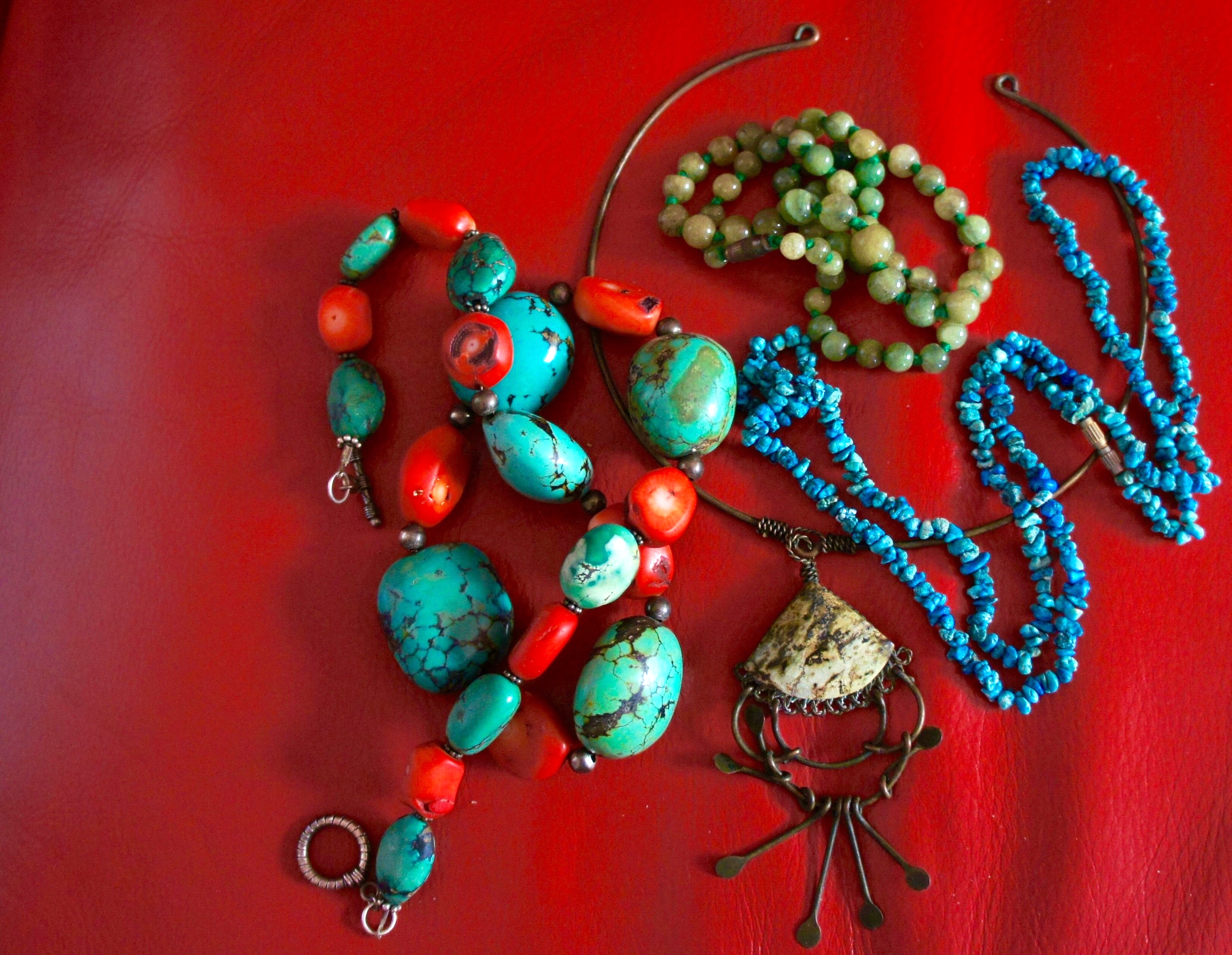 Coral, tibetan and american turquoise, chinese jade and jasper from Cuba. Pic Janelle Trees 2016