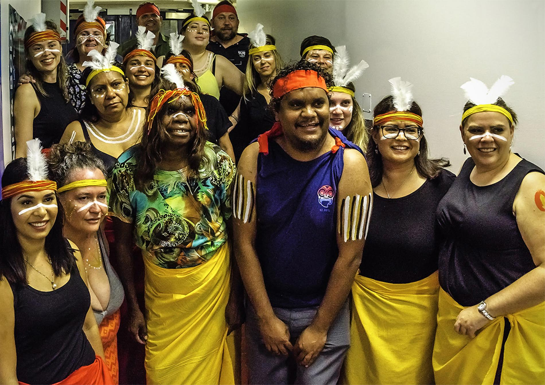 Some of the Australian Indigenous Doctors group prepared to dance. Photo Claudia Jocher.