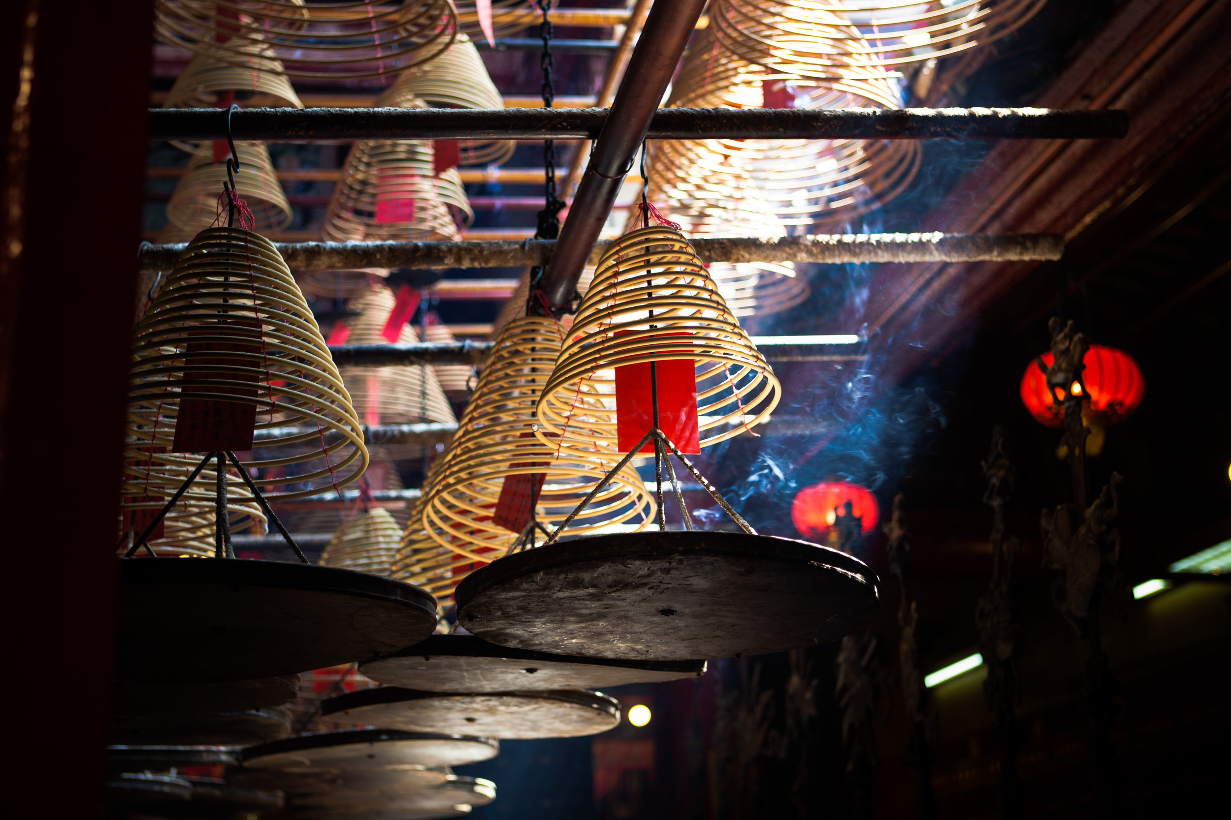 Incense coils suspended from a temple ceiling in Hong Kong. Pic by  Nicolas Holzey .
