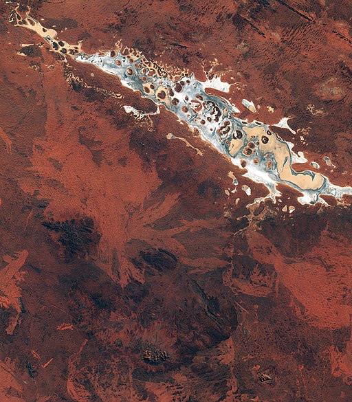 Satellite photo of Lake Amadeus, near our place.  European Space Agency  photo.