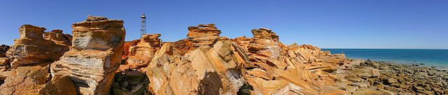 Rocks and water tower at Ganthaume Point, near Broome. Photo by  Martin Kraft .