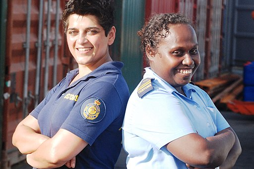 Customs Officers--fighting the fire ants. Australian Kamal Dutta (L) and Solomon Islands Officer Tammy Luitolo.  DFAT  photo.