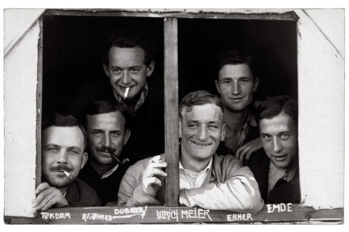 Interned German photographer  Paul Dubotzki  (upper left) with fellow prisoners in 1915 at the Torrens Island camp, SA, before being sent to Trial Bay Gaol.