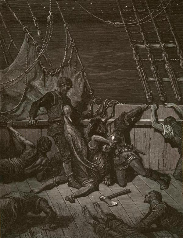 His comrades cursed the mariner as they died. Illustration by  Gustave Dore .