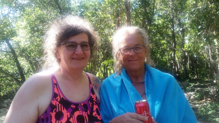 Claudia and Waltraud after their dive at the cenote. Photo by author.
