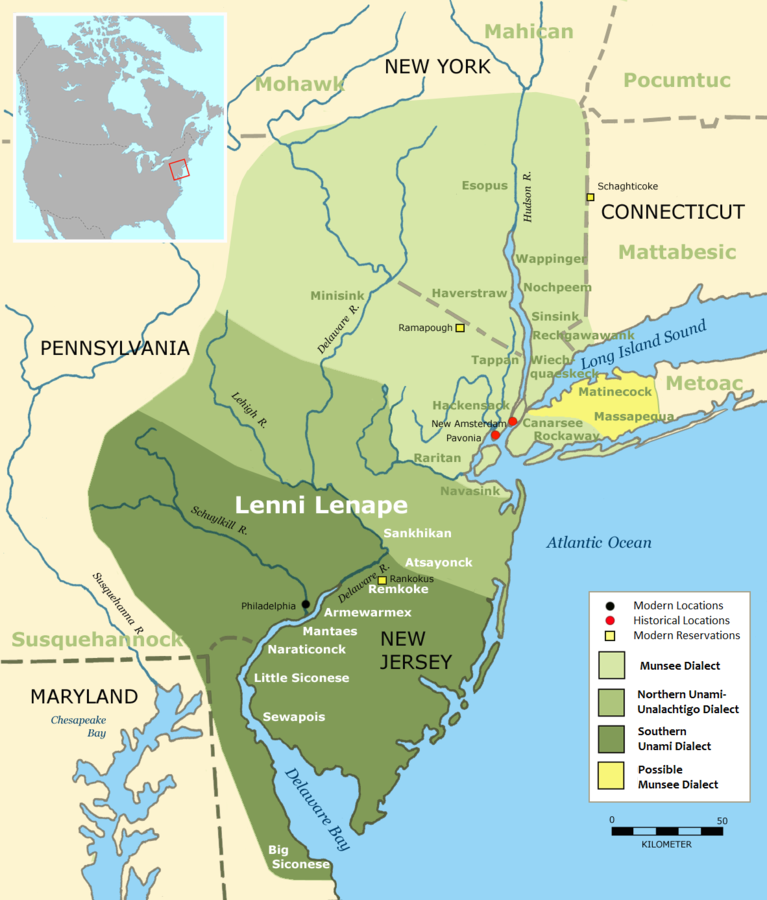 An estimation of tribal language group regions in and around New York state. Manhattan is marked by the red dot: New Amsterdam. Munsee is a clan of the Lenape. Translated from the German by  Nikater.