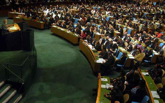 A meeting of the UN General Assembly. Photo from 2007 by  Agência Brasil .