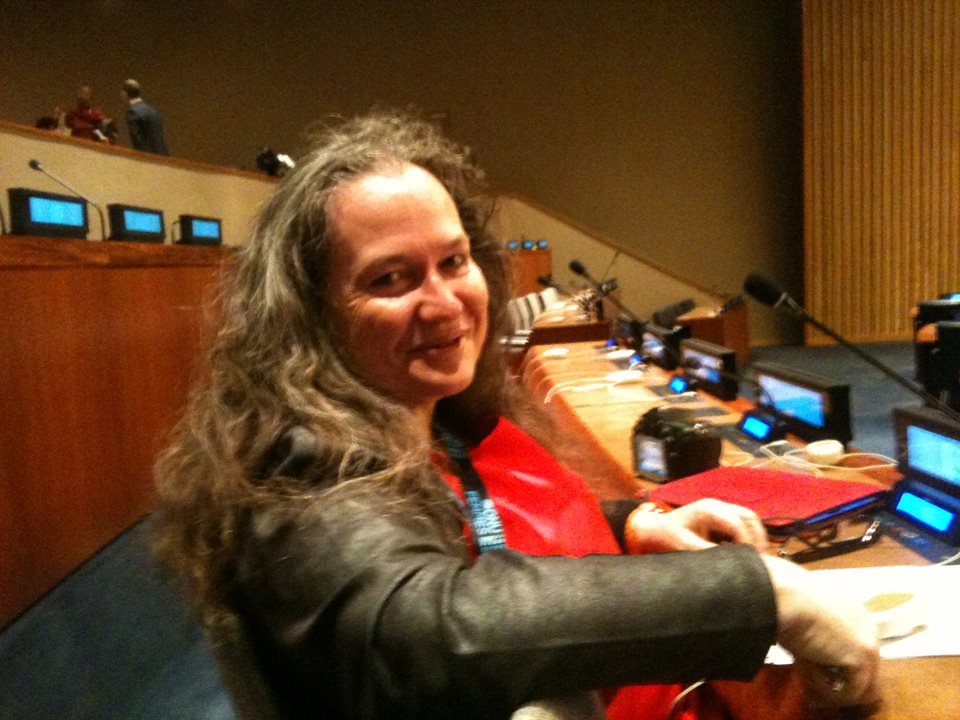 At the UN, having taken my seat early. Photo courtesy Francoise Traverso my NGO neighbour, 2015.