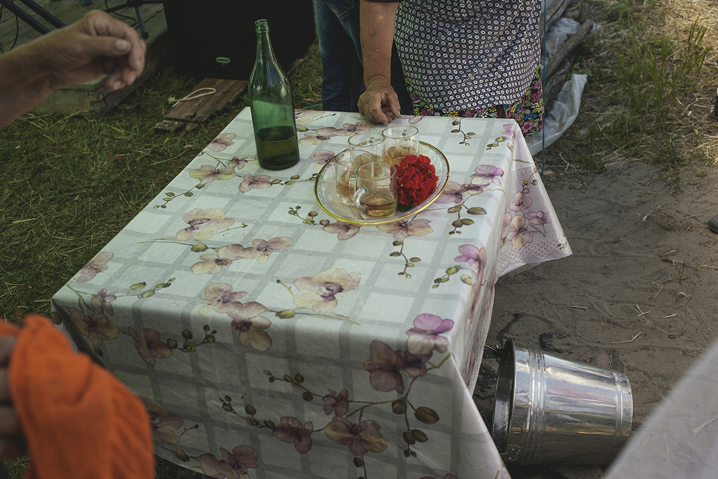 Table at the entrance of the wedding, Letea, Romania, 2015