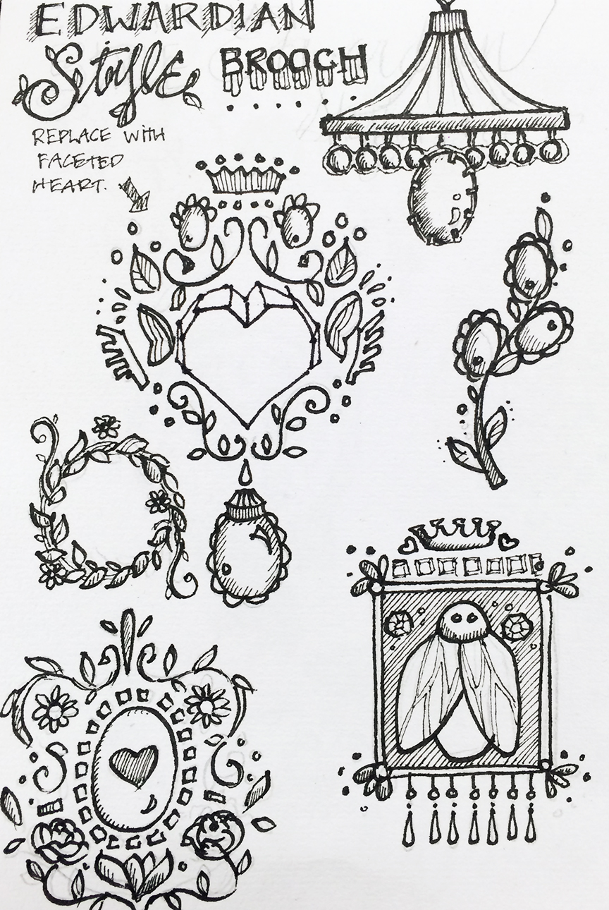 Edwardian Brooch Sketches by Dawn Gonzales