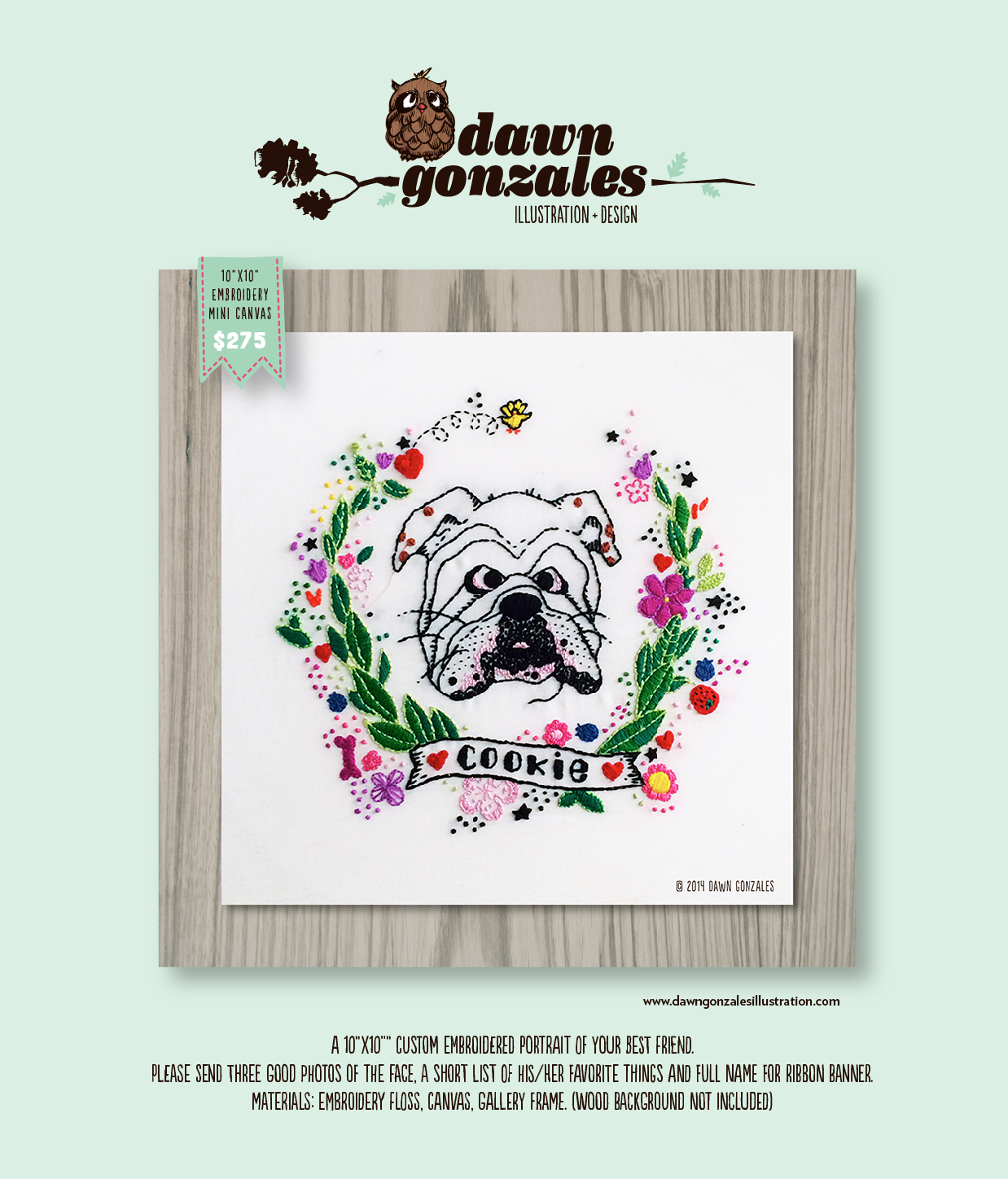 Custom embroidered pet portrait by Dawn Gonzales