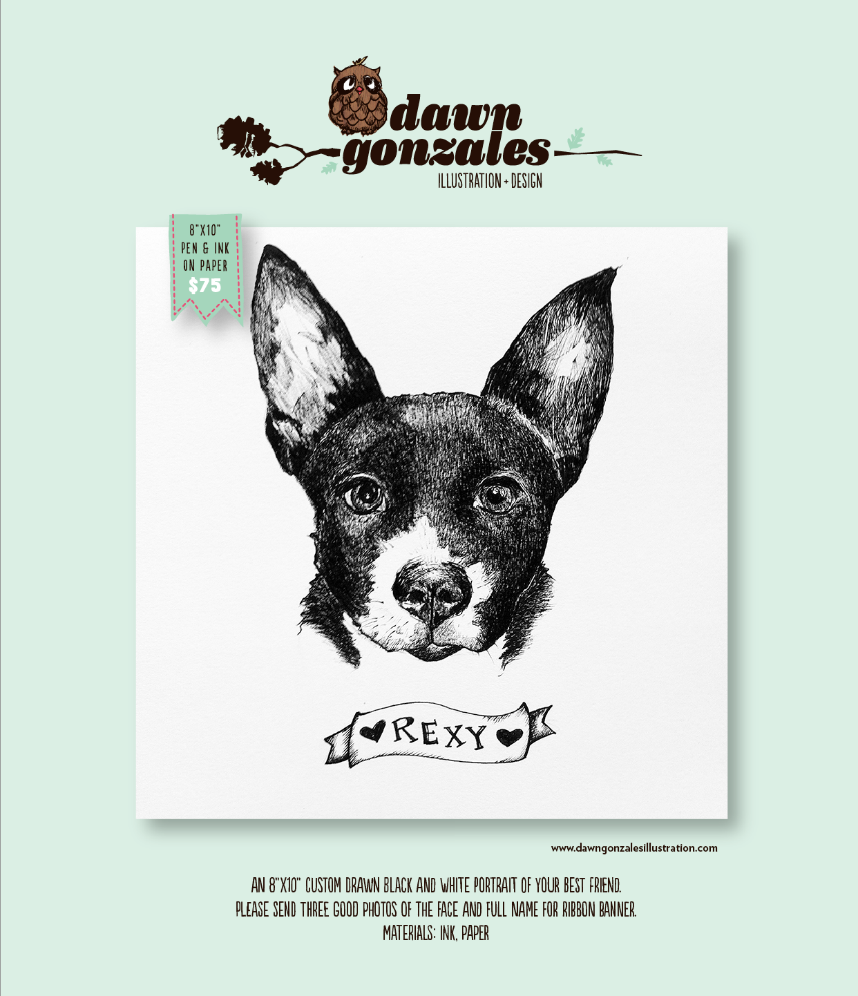 Custom pen/ink and paper portrait of your best friend by Dawn Gonzales