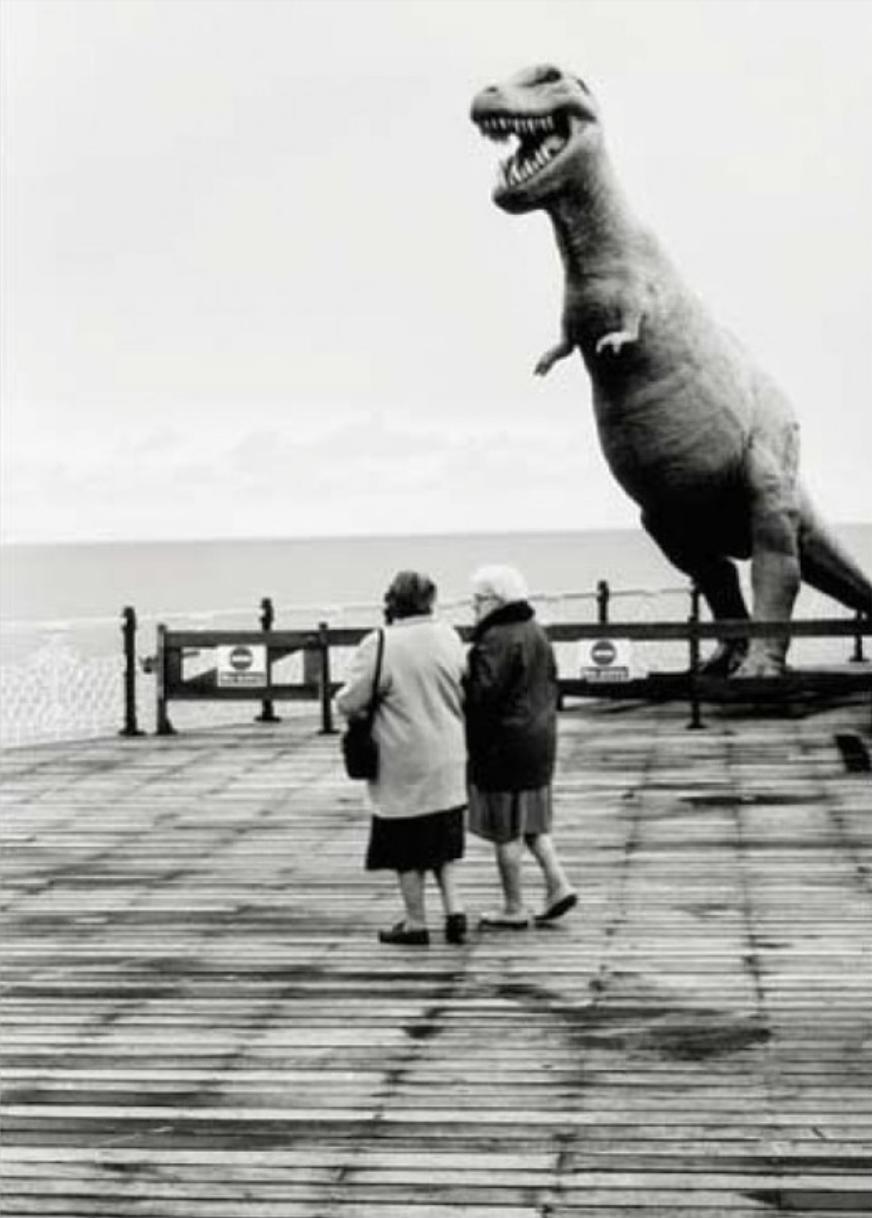 Brighton Pier dinosaur postcard, 1947