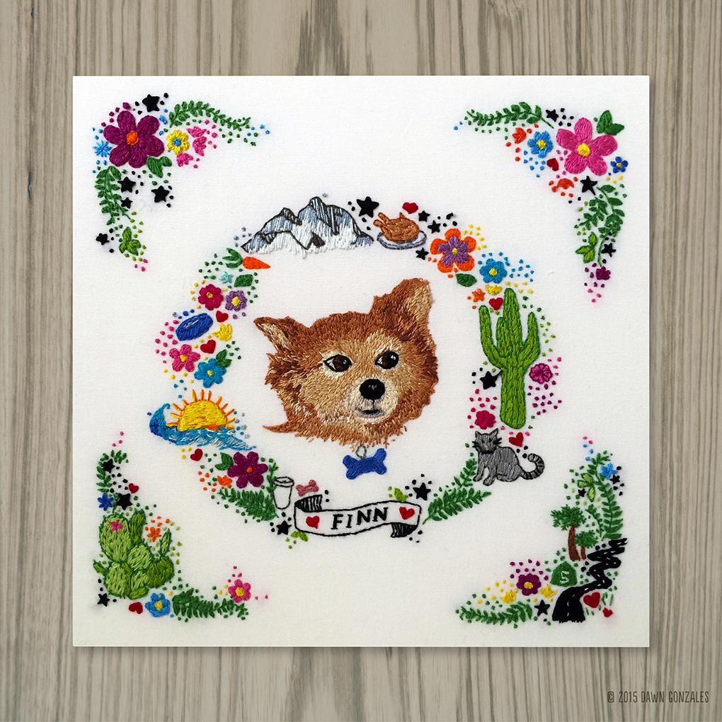 Finn_custom embroidery by Dawn Gonzales