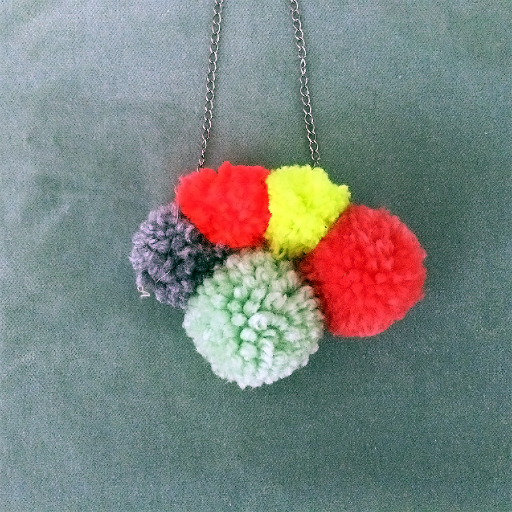 Neon Pom-Pom Statement Necklace, $22.00