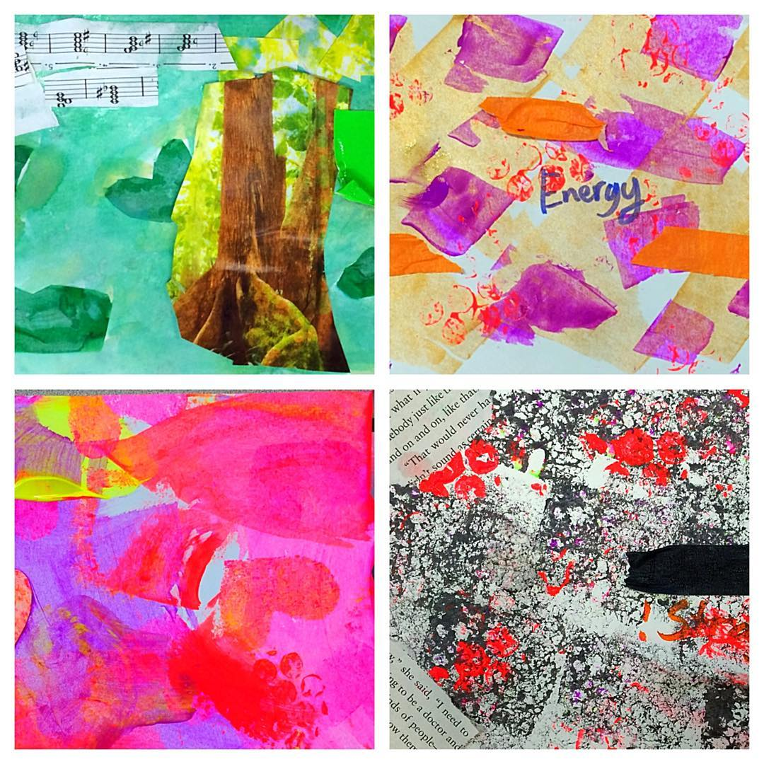 Student work: Mixed media journal pages inspired by Nature, Energy, Love and Strength.