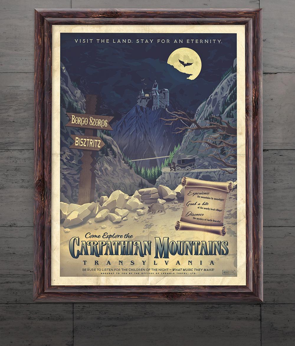 """Carpathian Mountains"" Dracula Travel Poster"