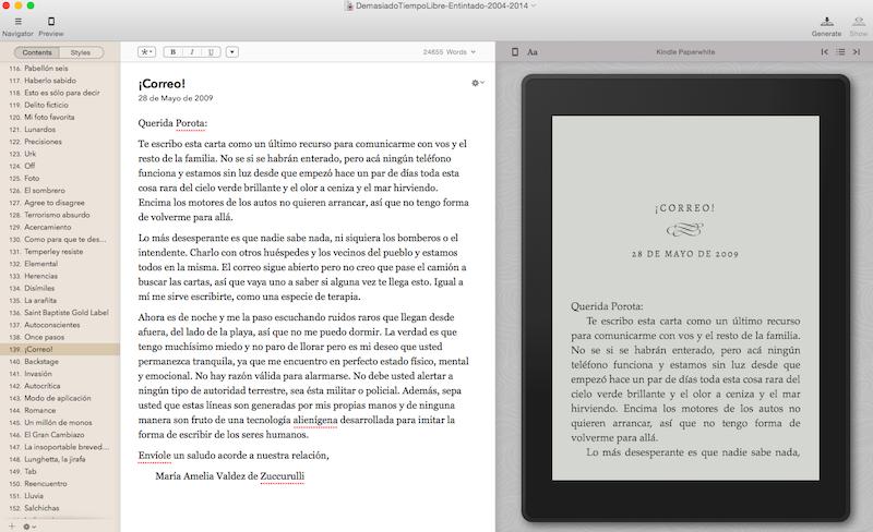Vellum en acción, mostrando un preview del libro tal como se vería en un Kindle Paperwhite.