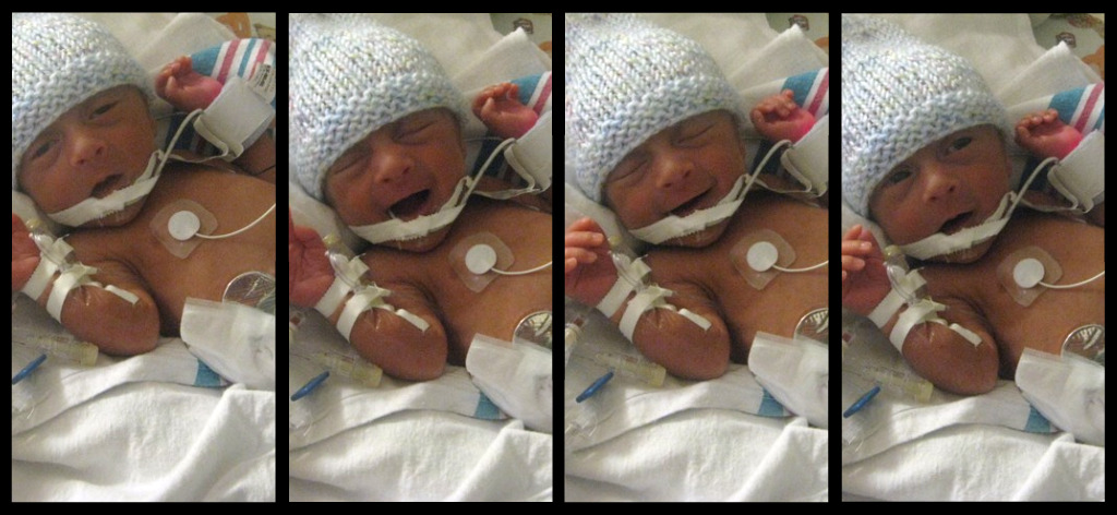 four images of preemie in hat smiling