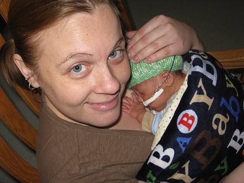 NICU mom holding preemie skin-to-skin