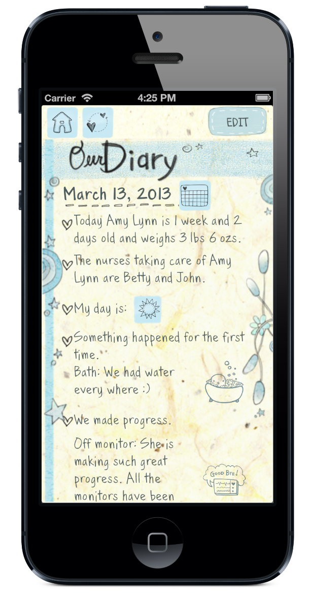 My Preemie App review Diary view